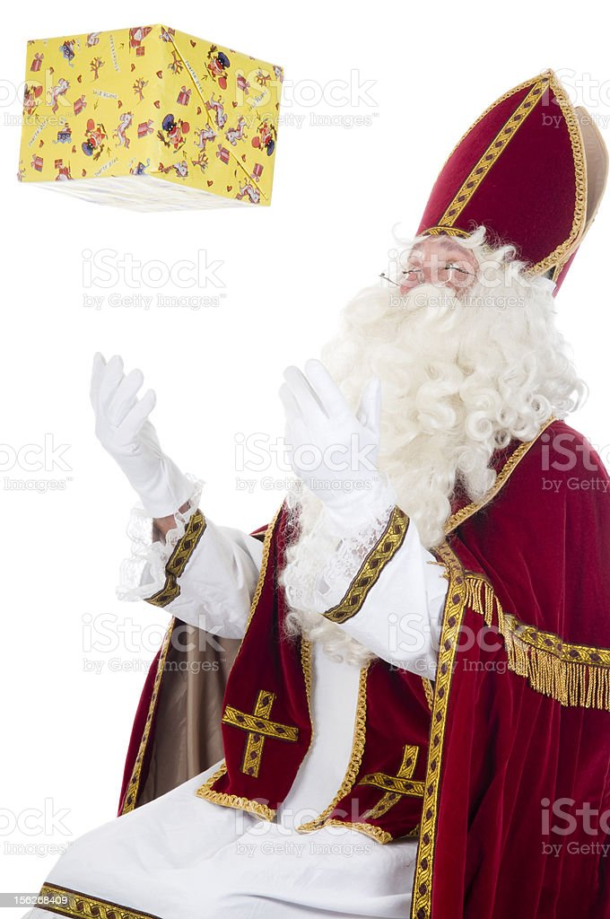 Sinterklaas and present stock photo