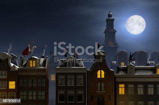 istock Sinterklaas and the Pieten on the rooftops at night 587809314