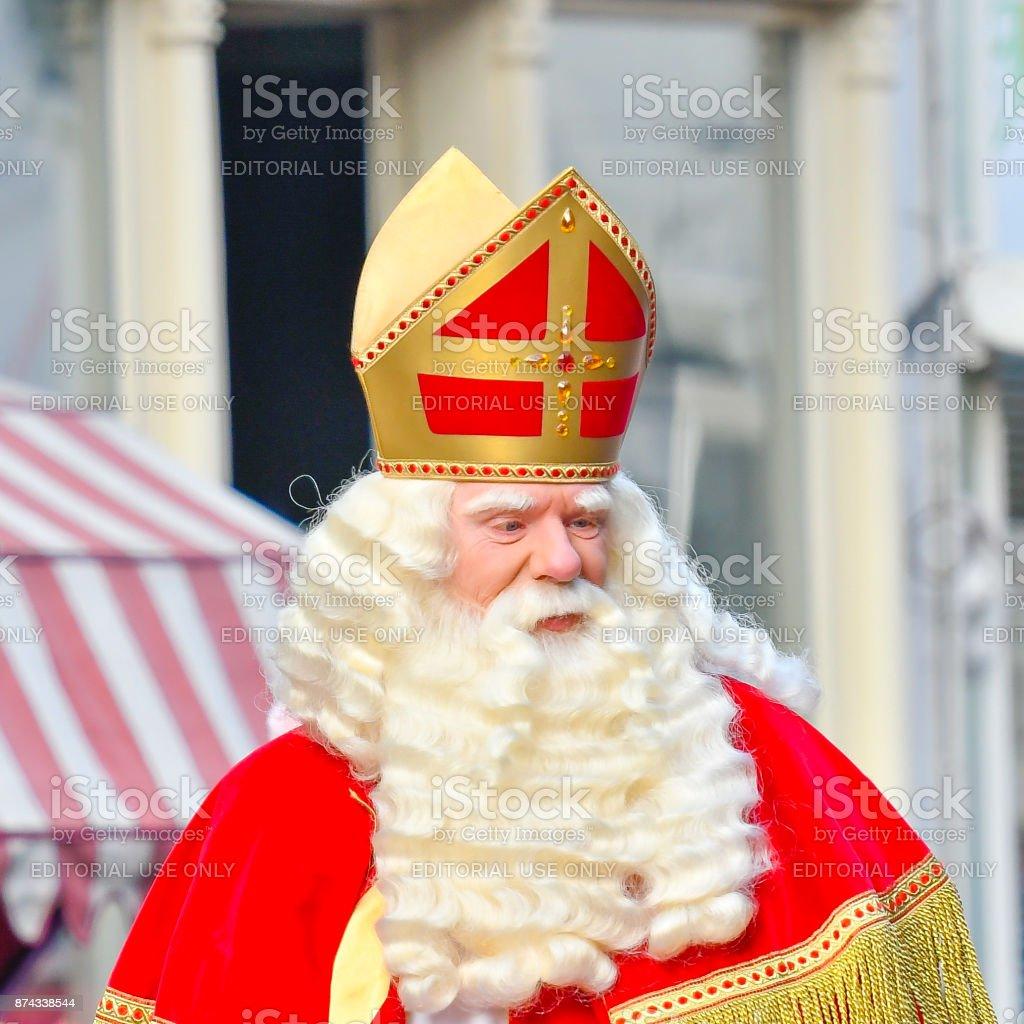 Sinterklaas arriving in the city of Kampen for the Sint Nicolaas festival stock photo