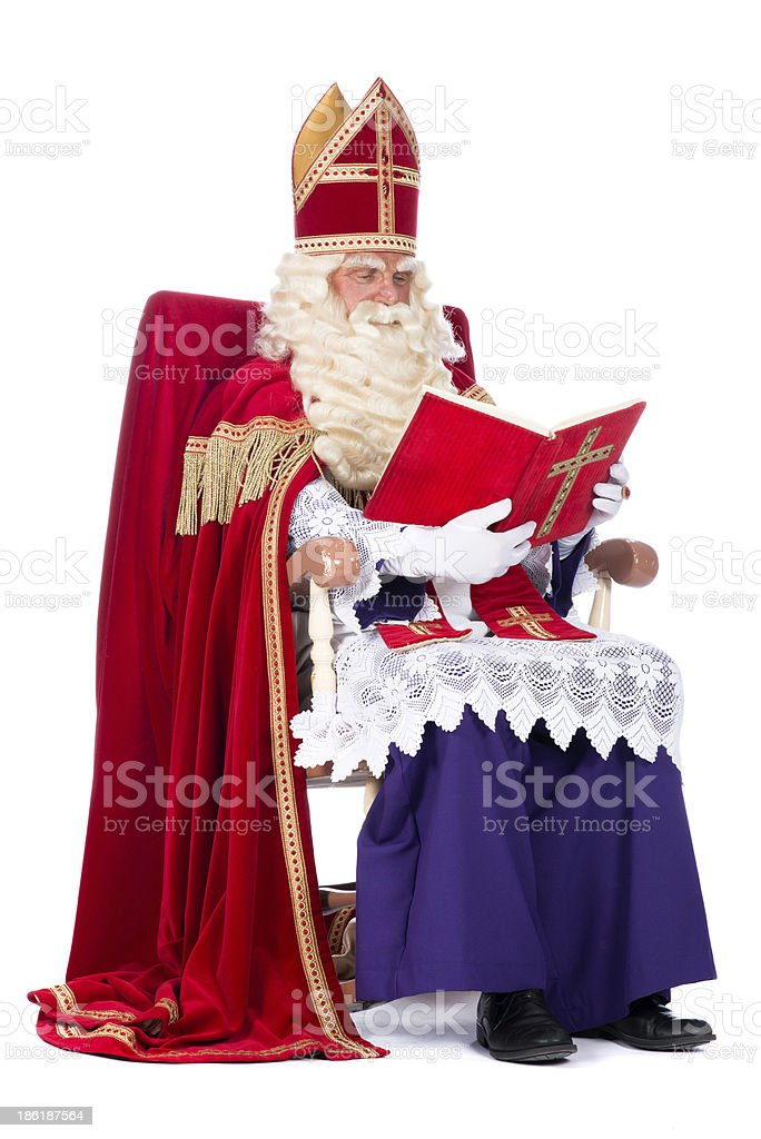Sinterklaas on his chair stock photo