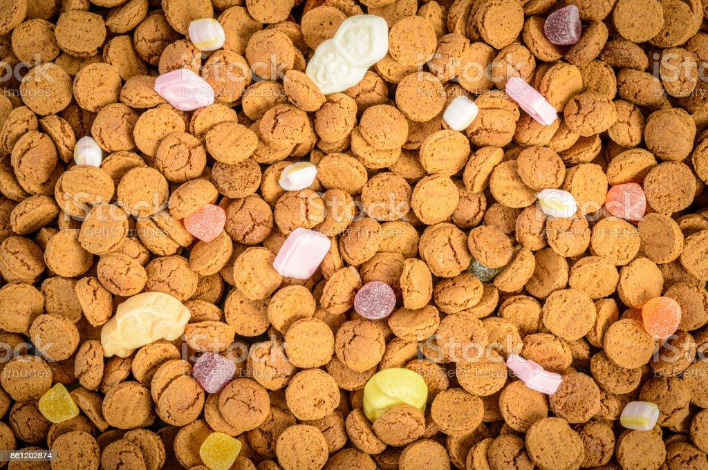 Sinterklaas or Sint Nicolaas Dutch Children's holiday pepernoten candy stock photo