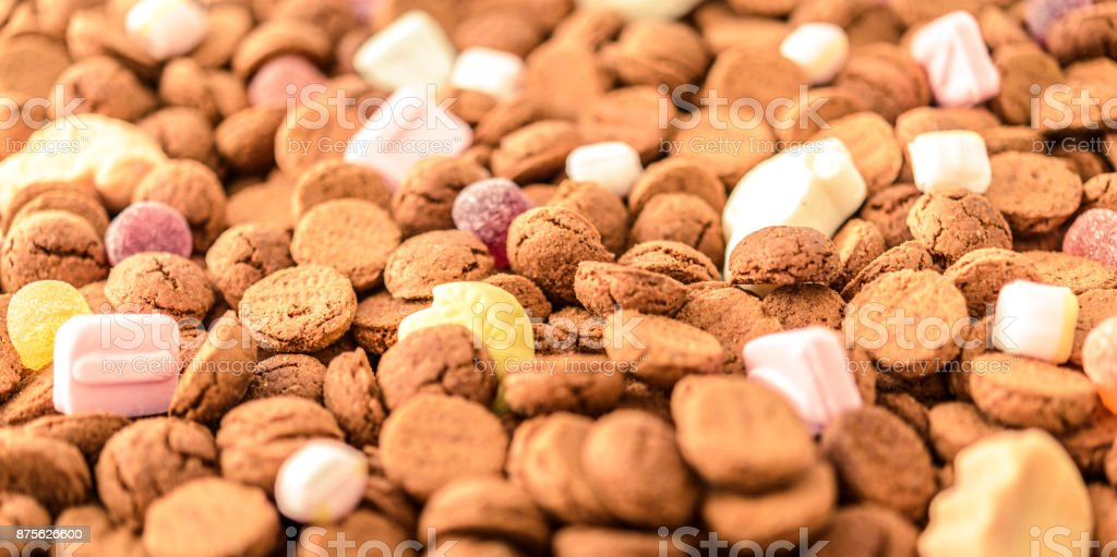 Sinterklaas or Sint Nicolaas Dutch folklore children's holiday pepernoten candy stock photo