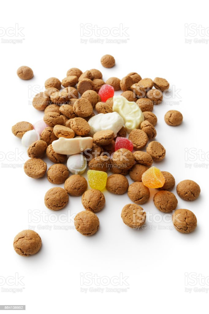Sinterklaas: Pepernoten and Candy Isolated on White Background royalty-free stock photo