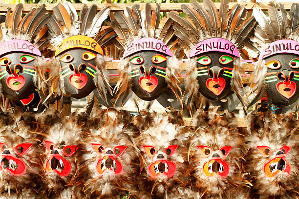 sinulog masks - cebu stockfoto's en -beelden