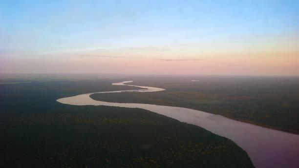 Sinuosity, the path of a river - Sinuosidade, o caminho do Rio Iguaçú stock photo
