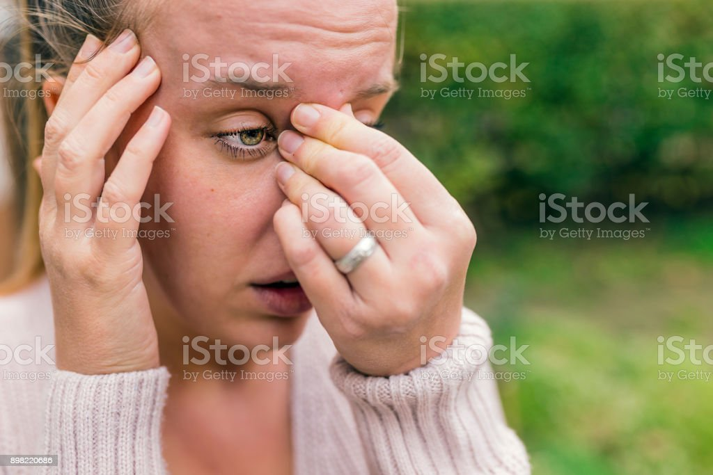 Sinus pain, sinusitis. stock photo