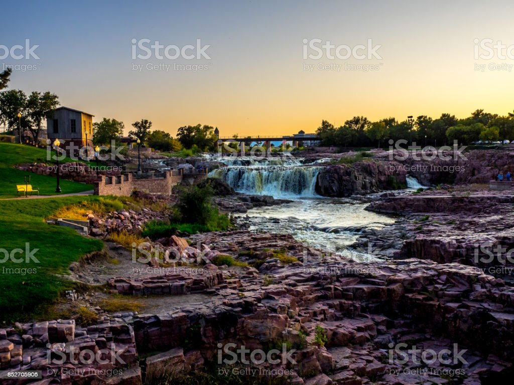 Sioux Fall Park sunset stock photo