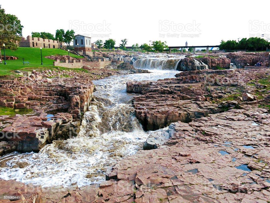 Sioux Falls, Falls Park, South Dakota Sioux Falls - Falls Park, South Dakoka. Arrangement Stock Photo