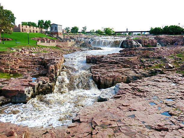 Sioux Falls, Falls Park, South Dakota stock photo
