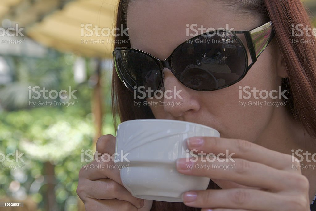 Sip of cappuccino royalty-free stock photo