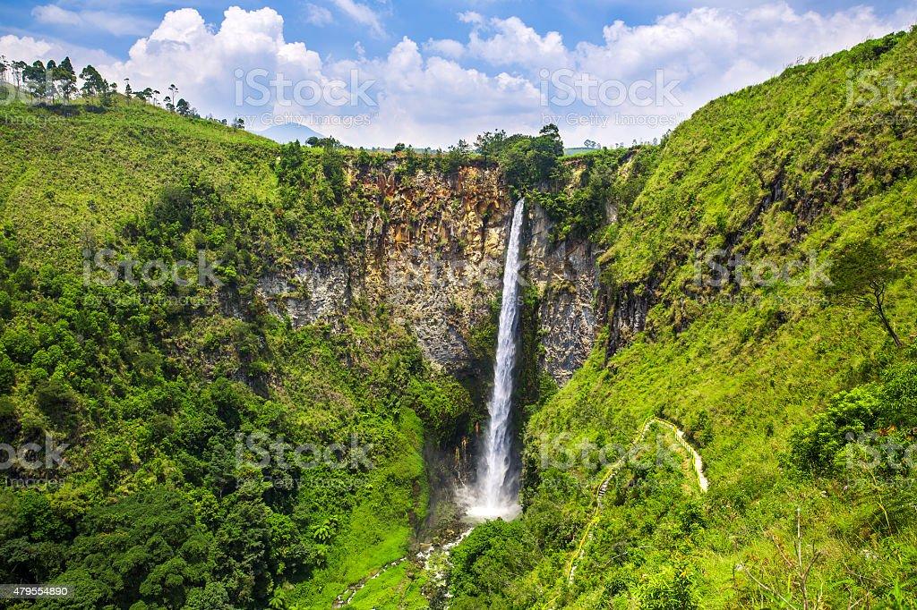Sipisopiso waterfall in northern Sumatra, Indonesia stock photo