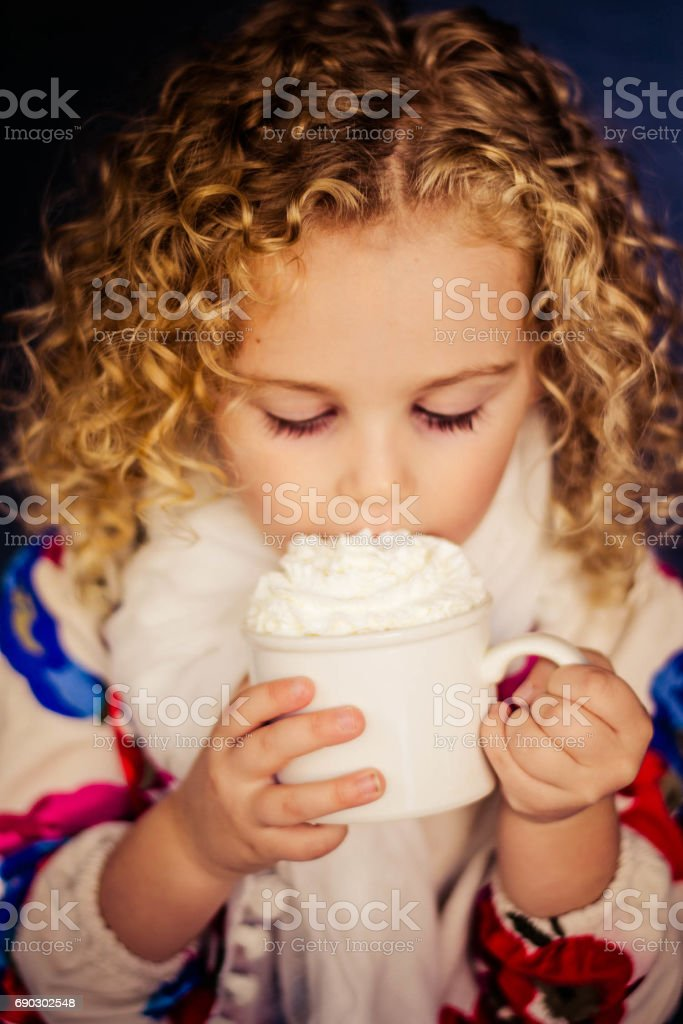 Sipping Hot Cocoa stock photo