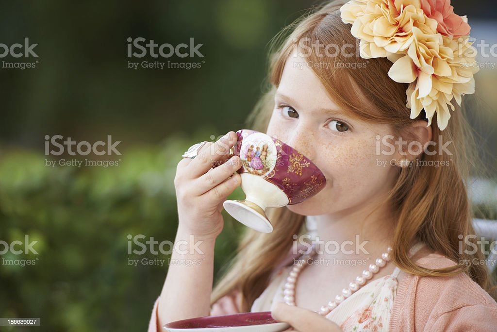 Sipping my tea... stock photo