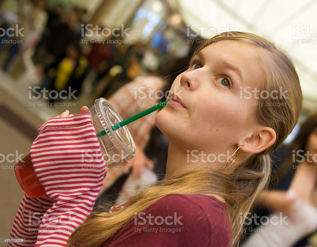 Sipping Shopper royalty-free stock photo