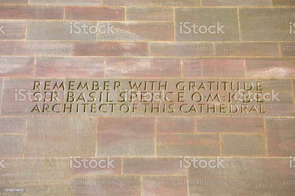 Sir Basil Spence Inscription at Coventry Cathedral in the UK stock photo