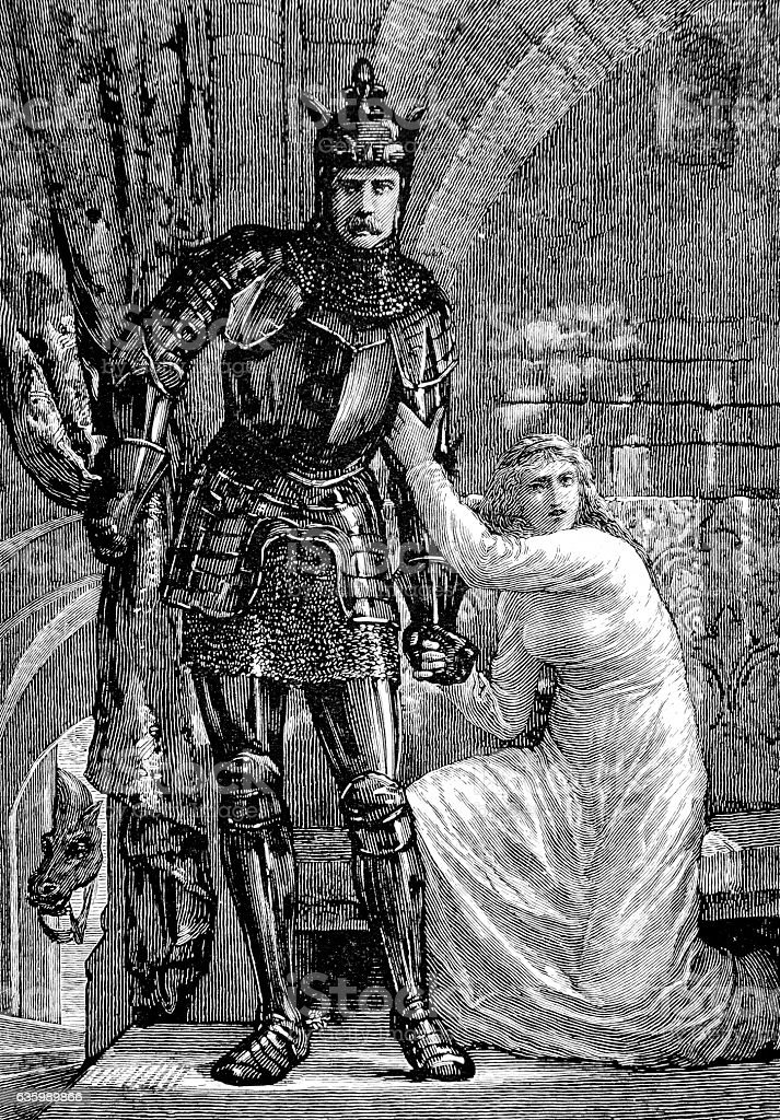 Sir Guido - Knight and Maiden in a castle stock photo
