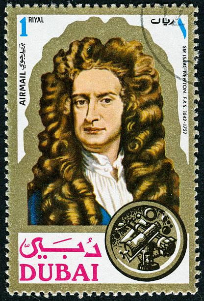 sir isaac newton stamp - berühmte physiker stock-fotos und bilder