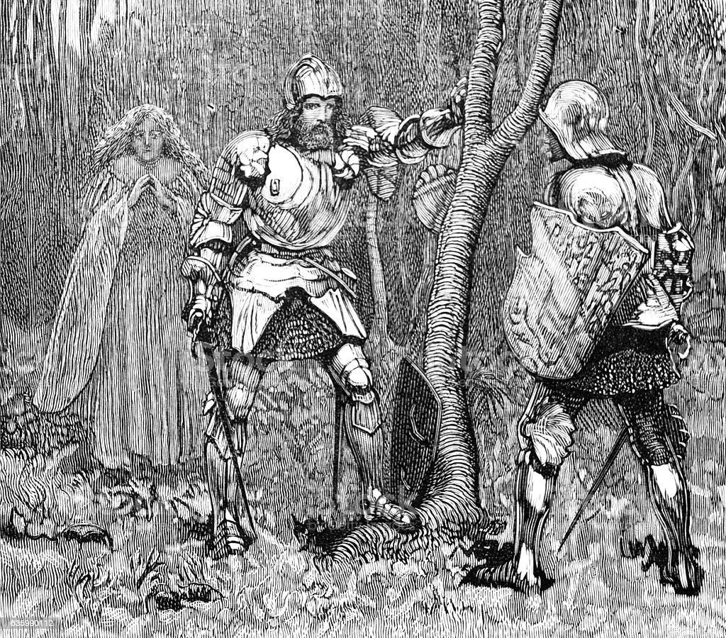 Sir Lancelot in armour stock photo