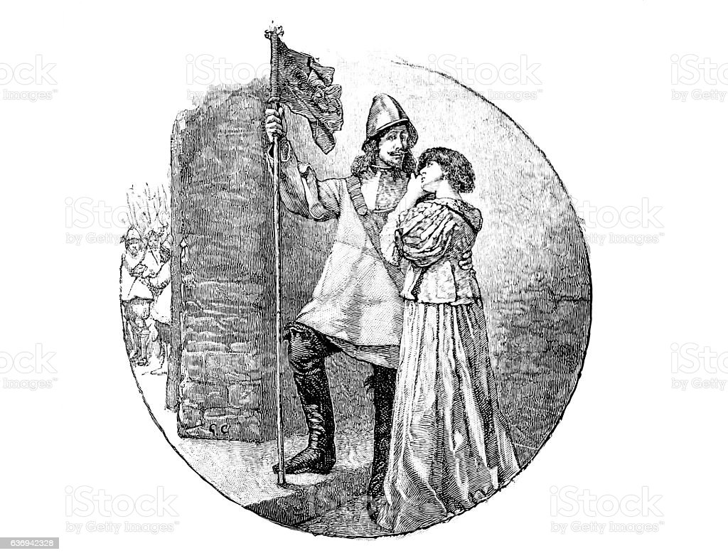 Sir Nicholas at Marston Moor (knight and maiden) stock photo