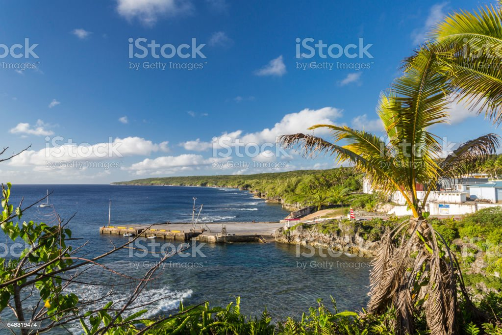 Sir Robert's Wharf in Alofi, Niue, South Pacific stock photo