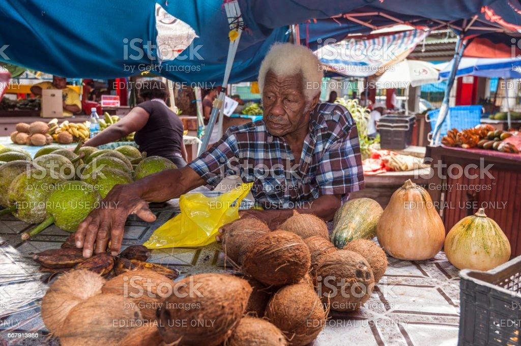 Sir Selwyn Selwyn Clarke Market in Victoria, Mahe, Seychelles stock photo