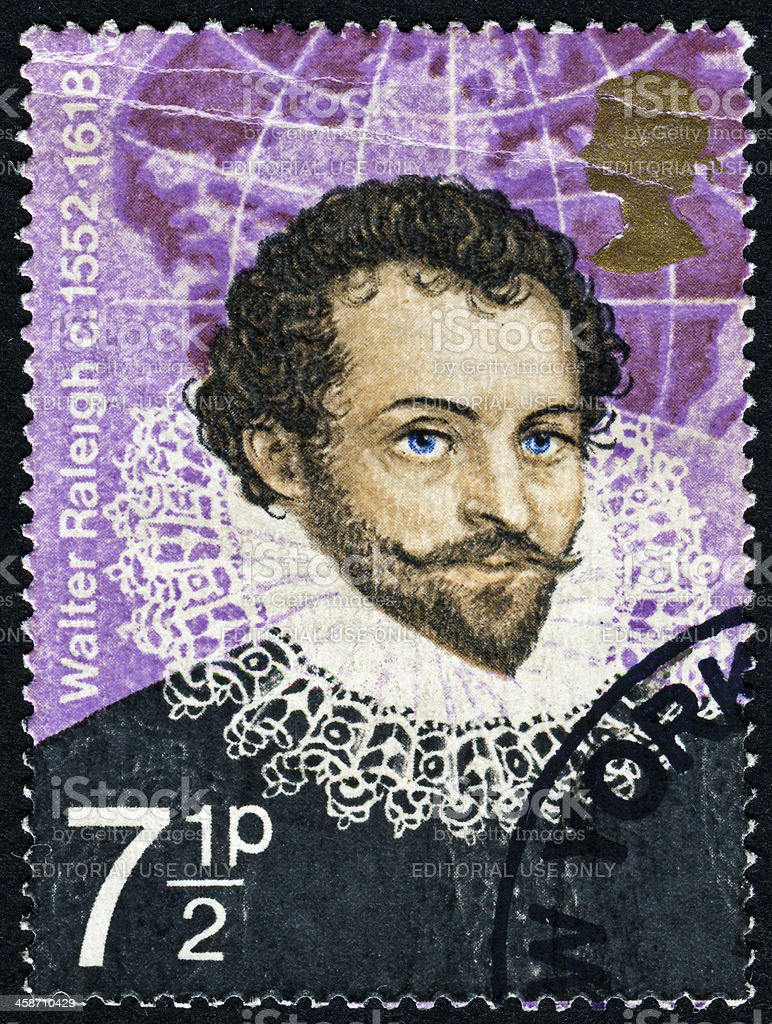 Sir Walter Raleigh Stamp stock photo