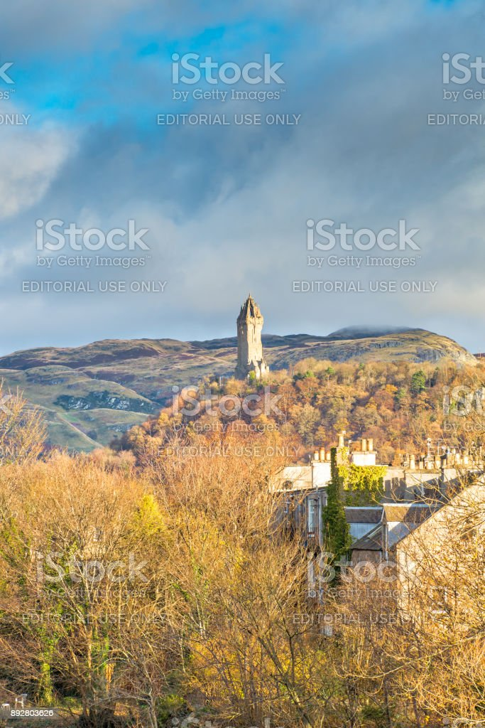Sir William Wallace Monument From Stirling Scotland stock photo