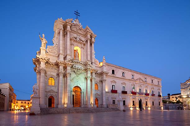 Siracusa Kathedrale von Ortygia Fassade vom 1753, Sizilien, Italien – Foto