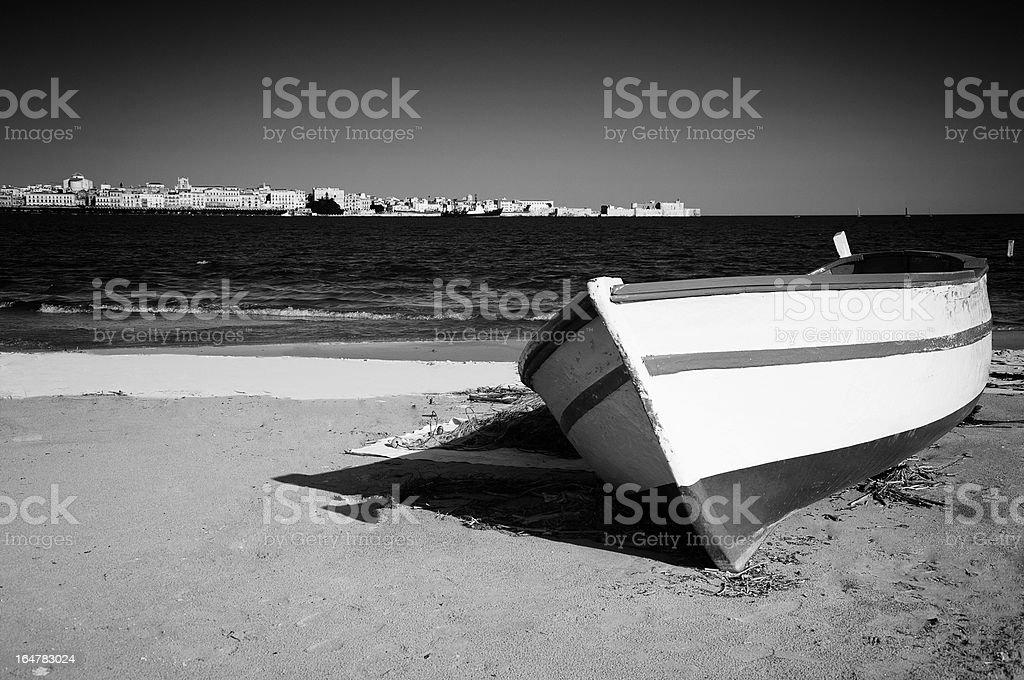Siracusa, Porto Grande, in Sicily. Black and White. stock photo