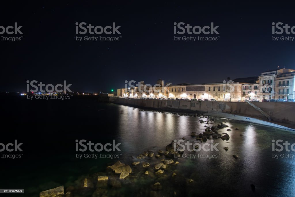 Siracusa promenade ati night during summer stock photo
