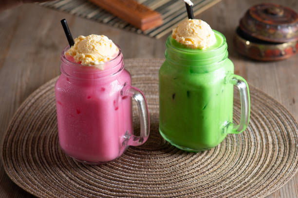 Sirap bandung ice cream is a drink popular in Malaysia, Singapore and Brunei
