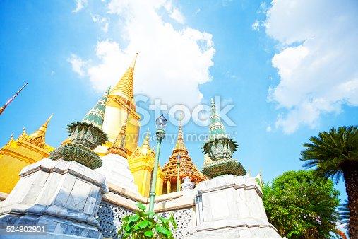Siratana Chedi and roof of Phra Mondop in Wat Phra Kaeo, Bangkok