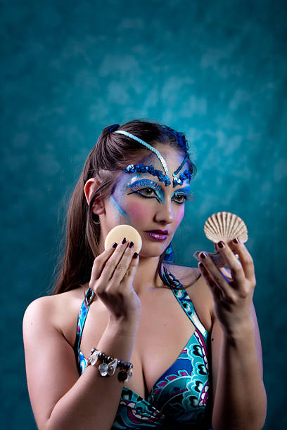 sirena - meerjungfrau fantasy make up stock-fotos und bilder