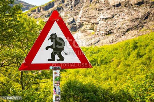 Trollstigen, Norway - June 27, 2018: Sirgn Beware of trolls on trollstigen road in Norway