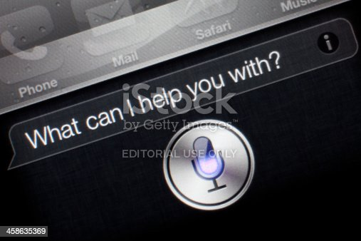 Antalya, Turkey - January 26, 2012:  Siri app of the Apple iPhone 4S. Siri is an application introduced on the new iPhone 4s.It finds answers and solutions for the requests of the user by spoken language.