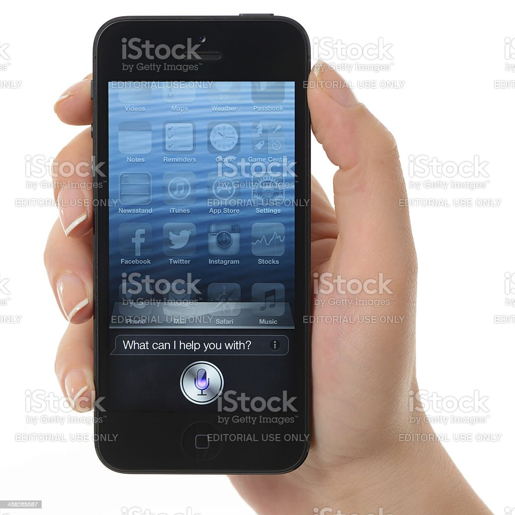 Siri on iPhone 5 royalty-free stock photo