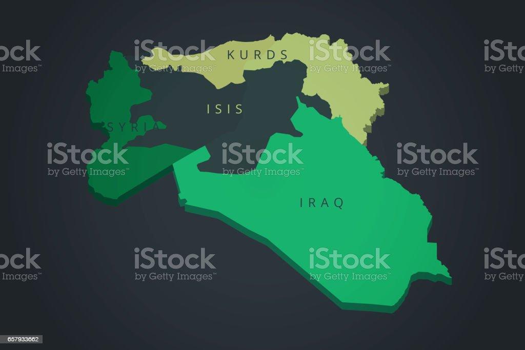 Syrien Irak Karte.Syrien Irak Kurden Isis Karte Erfassten Gebiet Im Irak Und