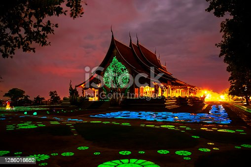 istock Sirinthorn Wararam Phu Phrao Temple at sunset with colorful on the sky at Ubon Ratchathani province, Thailand. Amazing temples in Thailand and popular for tourists. 1286016652