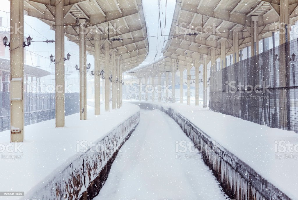 Sirkeci Train Station on a snowy day stock photo