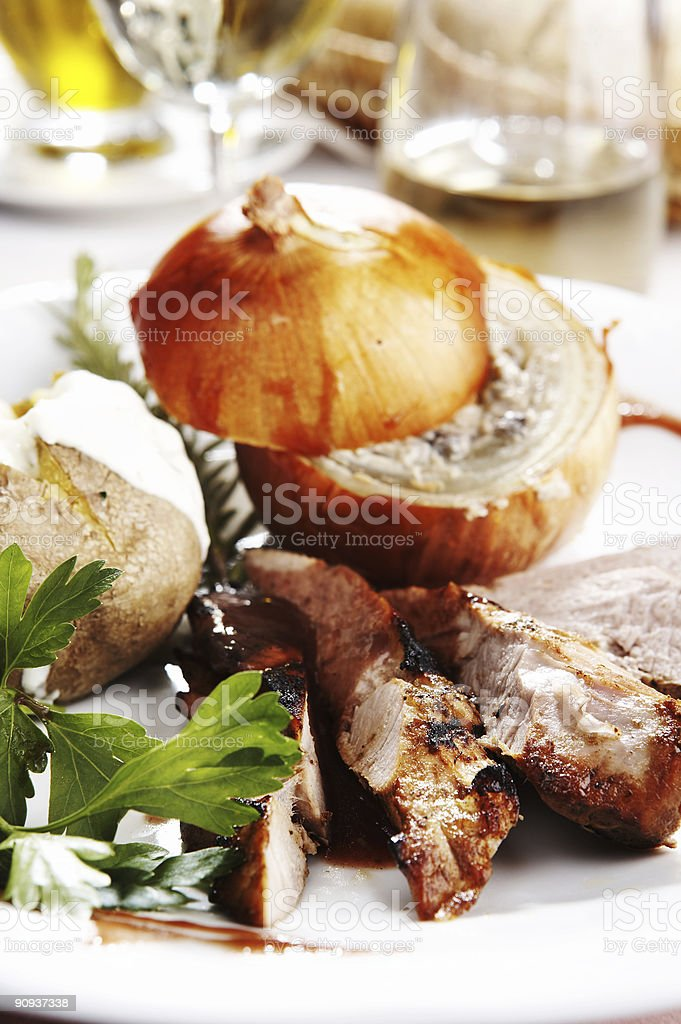 Sirloin in red wine royalty-free stock photo