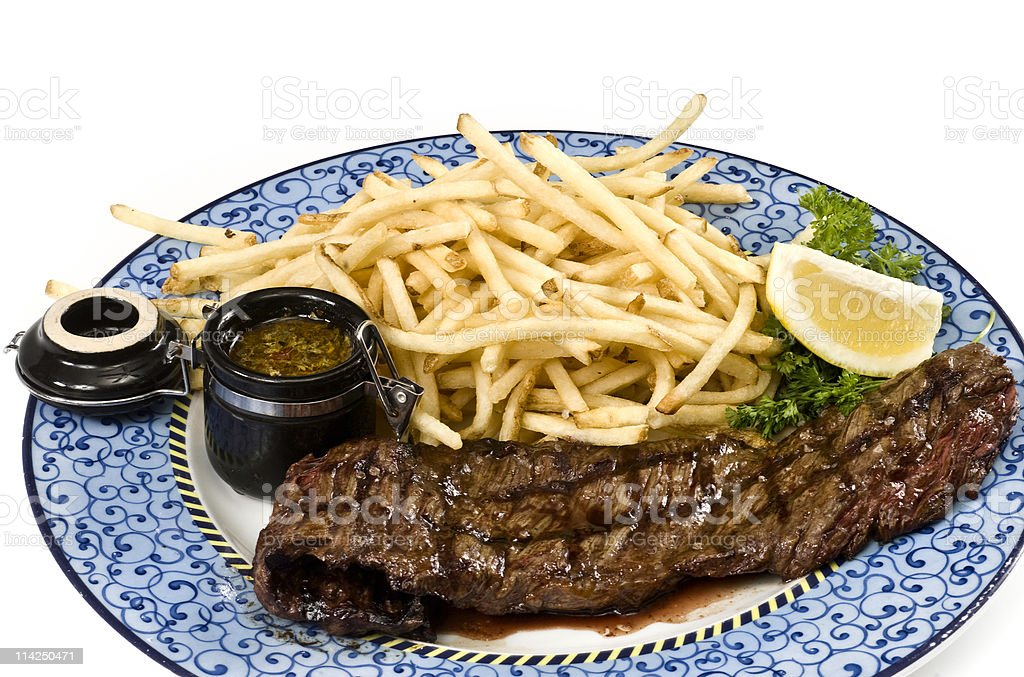Sirloin steak and fries royalty-free stock photo