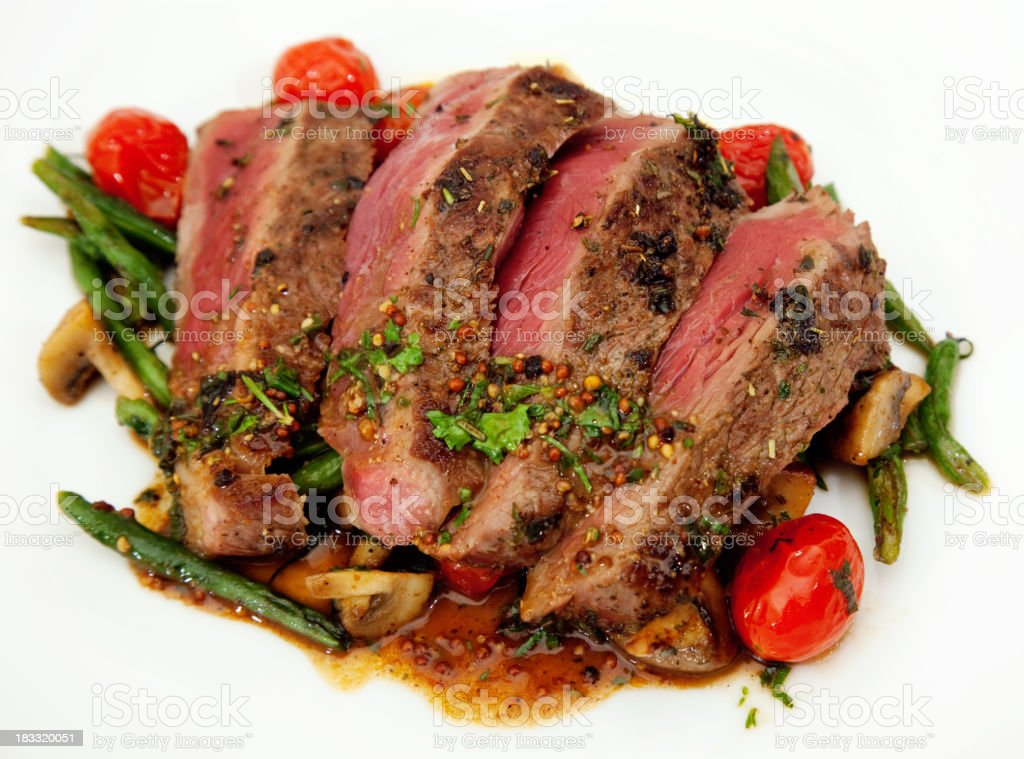Sirloin Steak French Beans Cherry Tomatoes royalty-free stock photo
