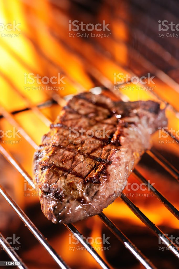 Sirloin Steak on Barbecue royalty-free stock photo