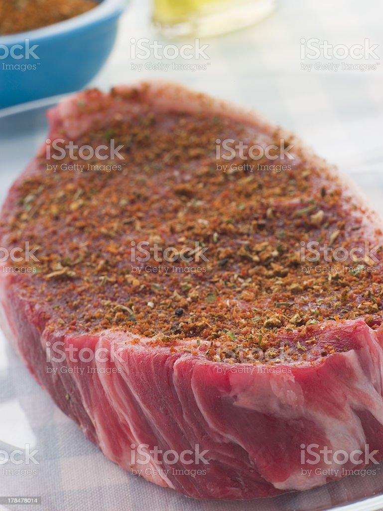 Sirloin Steak with Cajun Spice Rub royalty-free stock photo