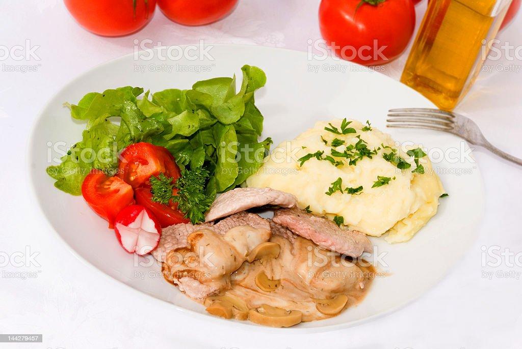 Sirloin Steak with Salad and Potato Puree ,Sauce royalty-free stock photo