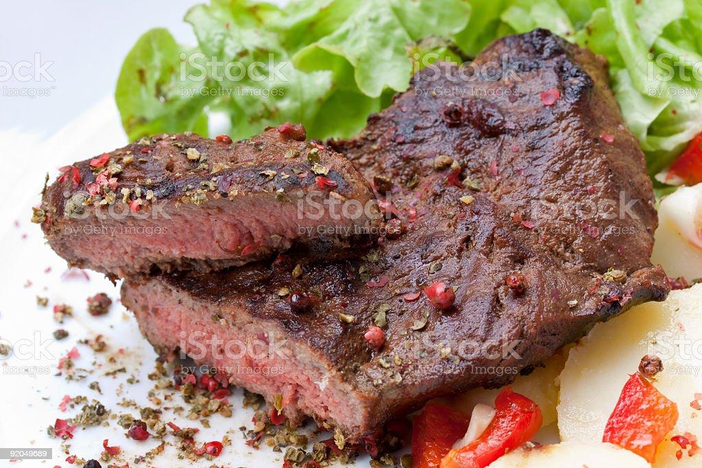 sirloin strip steak-entrecote- with boiled potato royalty-free stock photo