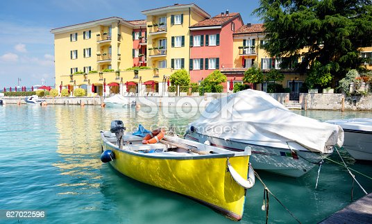 View of Sirmione town on Lake Garda, Italy. Composite photo