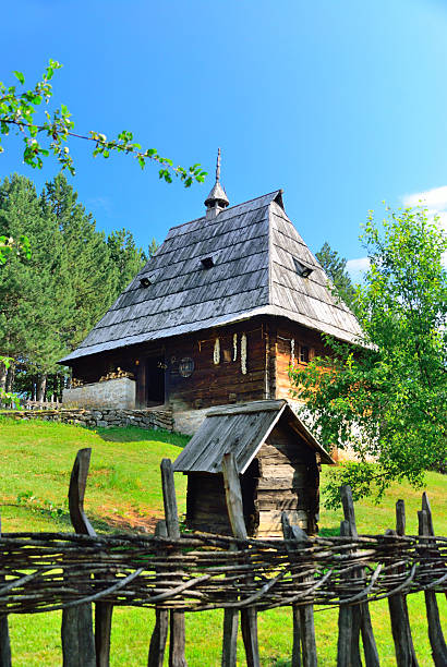 Sirogojno traditional Balkanic village from medieval times stock photo