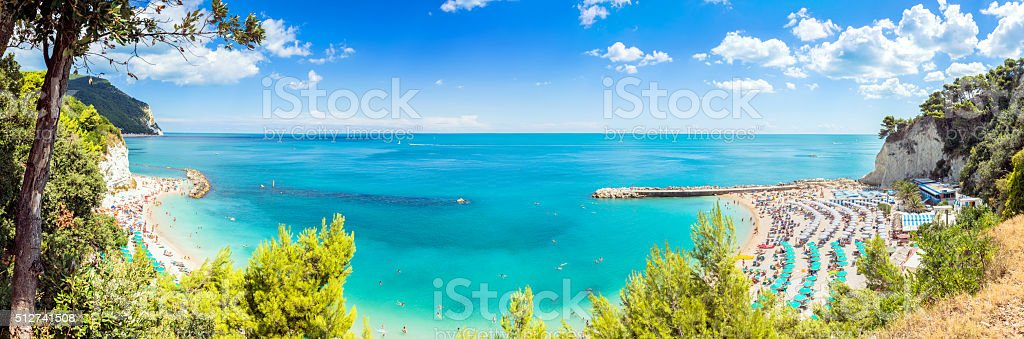 Sirolo beach in Conero national park, Italy stock photo
