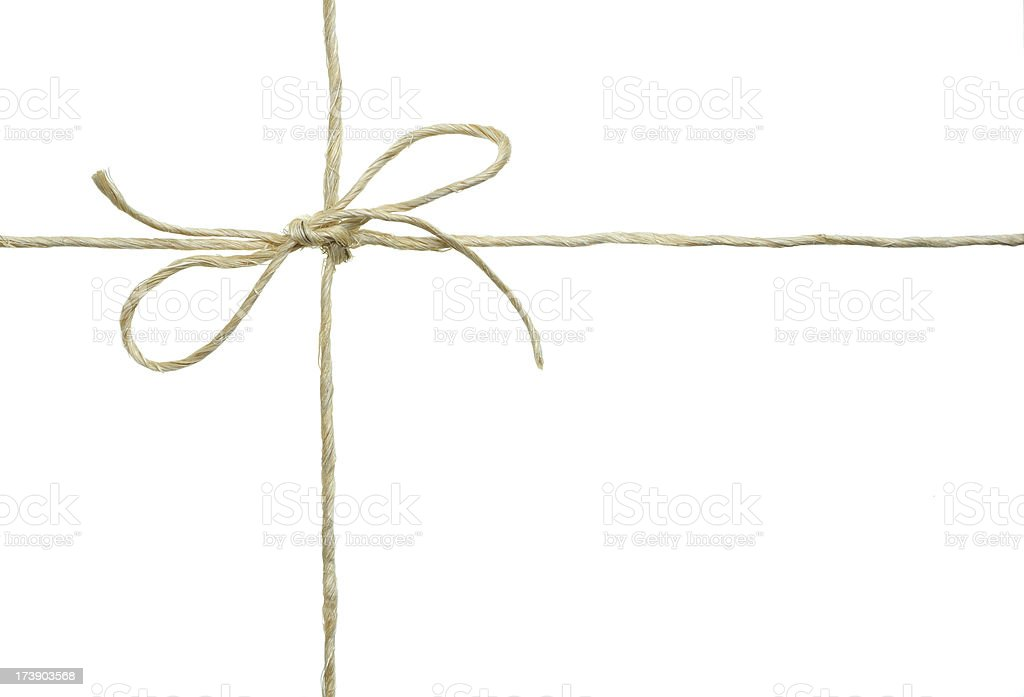 Sisal Twine Bow Against a White Background stock photo